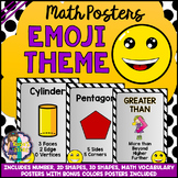 Math Posters (Numbers, Vocabulary, Colors, Shapes) Emoji Theme BACK TO SCHOOL