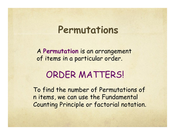Math Posters: Permutations Combinations