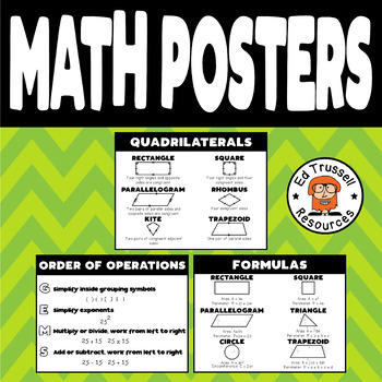 Math Posters Quadrilaterals Order of Operations Formulas