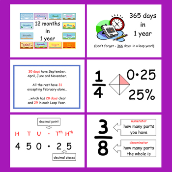 Math Posters for Early Elementary (Measurement, Time, Fractions)