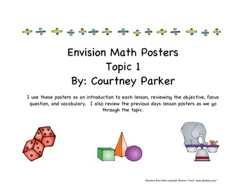 Math Posters for Kindergarten Envision Math Series, Topic 1