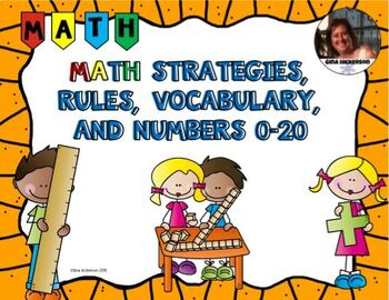 Math Posters on Strategies, Rules, and Vocabulary Engage NY with Orange Border
