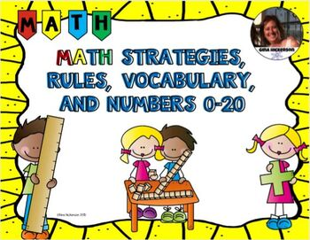 Math Posters on Strategies, Rules, and Vocabulary Engage NY with Yellow Border