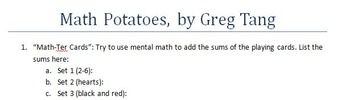 Math Potatoes by Greg Tang Comprehension