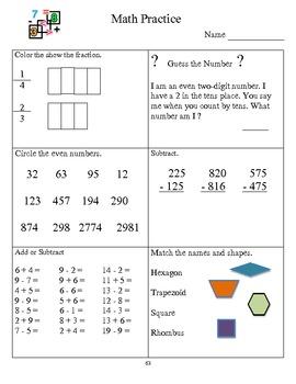 Math Practice 2nd Grade G 50 -69
