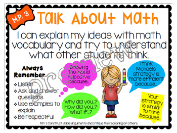 Math Practice 3 Classroom Poster, Lesson Plan, and Journal Pages