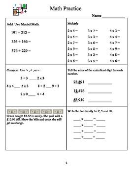 Math Practice 4th Grade A 1- 20