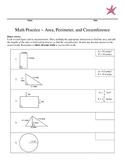 Math Practice Area, Perimeter, and Circumference
