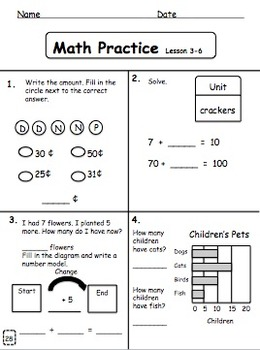Math Practice Book:Books 1 & 2 Bundle         Adapted for Primary Learners