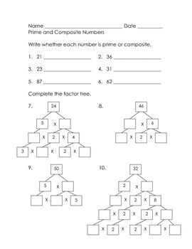 math practice prime and composite numbers and factor trees tpt. Black Bedroom Furniture Sets. Home Design Ideas
