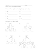 Math Practice - Prime and Composite Numbers and Factor Trees #2