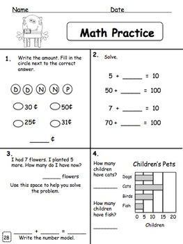Math Practice/Review: First Semester for Primary Students