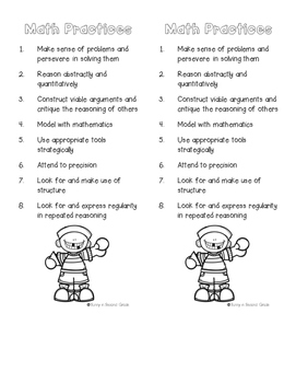 Math Practice Standards and Math Strategy Bookmark
