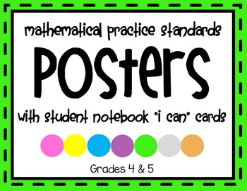 Math Practice Standards Posters & Math Journal Cards