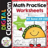 Math Practice Worksheets RIT Band 201-220 Google Classroom