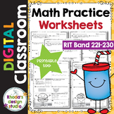 Math Practice Worksheets RIT Band 221-230 Distance Learnin