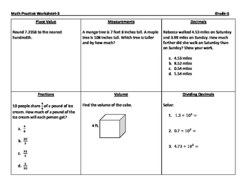 Math Practice Worksheets-Set A-Grade 5