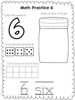 Math Practice Worksheets for Pre-k and Kindergarten | TpT