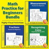 Math Practice for Beginners: Time, Money, Measurement, & Fractions {Bundle}
