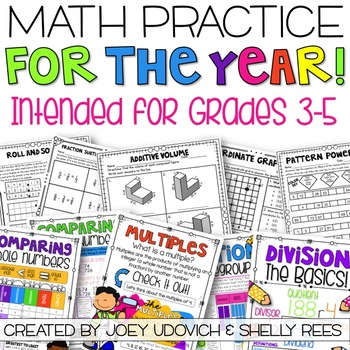 Math Practice for the YEAR for 3rd, 4th, and 5th Grade