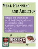 Math Practice through Meal Planning - a Life Skills Activity