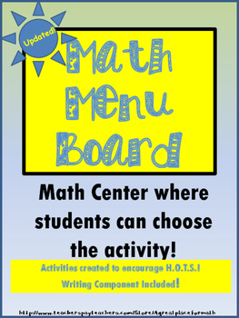 Math Practices Menu Board - A Center to Encourage Higher O