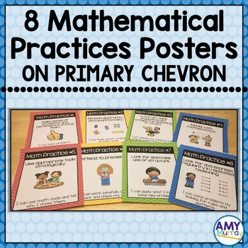 Math Practices Posters for Young Learners on primary chevron