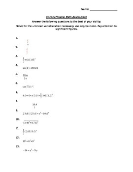 Math Pre Assessment (Used for HS Physics Course)