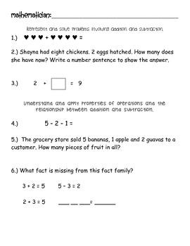 Math Pre-Assessment for 2nd Grade