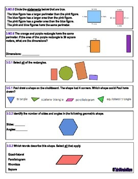 Math Pre-and-Post Assessment 3rd Grade Common Core
