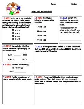 Math Pre-and-Post Assessment 3rd Grade Common Core for PARCC