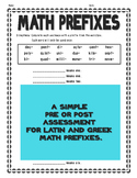 Math Prefixes Assessment - Latin and Greek