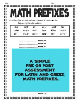 Math Prefixes Assessment - Latin and Greek