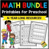 Math Printables for Preschool Year-Long Bundle