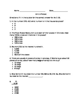 Math Pretest Big Numbers Extended Numbers Single and Doubl