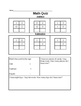Math Pretest for Double Digit Addition and Subtraction