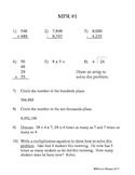 4th Grade Math Preview/Review: Week One