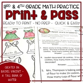 Christmas No Prep Math for 3rd & 4th  Grade