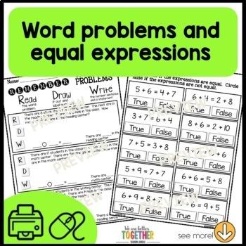 Math Worksheets 1st Grade [missing parts, equal expressions]