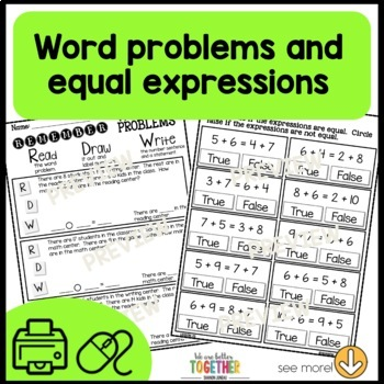 Math Worksheets 1st Grade Missing Parts, Equal Expressions