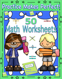 Math 50 Printables No Prep  Common Core! Practice Book!