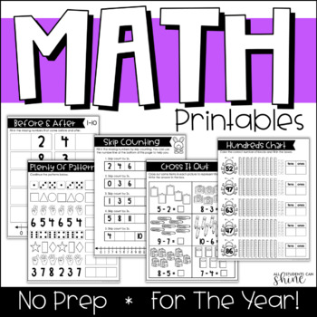 Math Practice For The Year! NO PREP