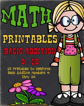 Basic Addition Math Printables Numbers 0 - 20 : 25 Differe