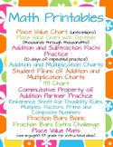 Math Printables: Place Value, Facts, Multiplication Chart, Fraction Bars