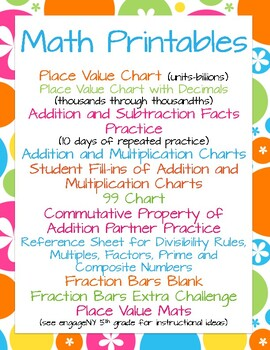 Math Printables: Place Value, Facts, Multiplication Chart,