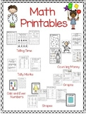 Math Printables, Telling Time, Counting Money and Much More