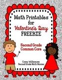 Math Printables for Valentine's Day FREEBIE Second Grade Comon Core