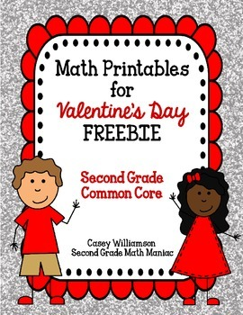 Math Printables for Valentine's Day FREEBIE Second Grade Comon Core