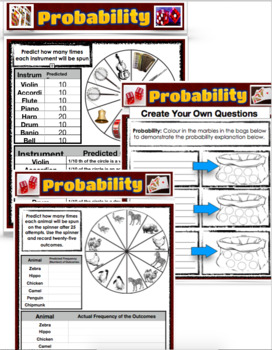 Math Probability Pages - PDF - With a Ready Made Spinner, and Tally Chart