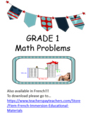 Math Problem Solving, 40 Math problems for Grade 1